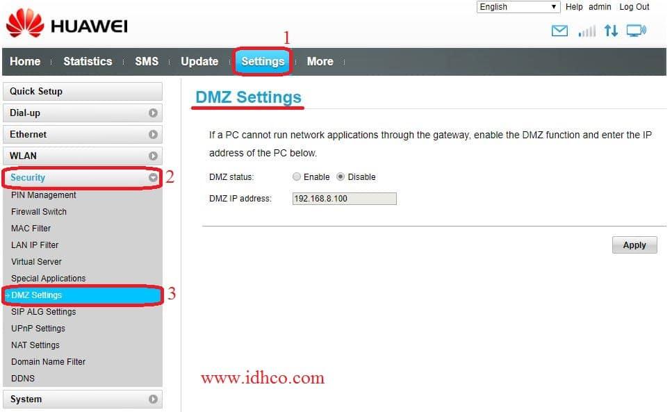 نحوه ست کردن DMZ رو مودم های هوآوی