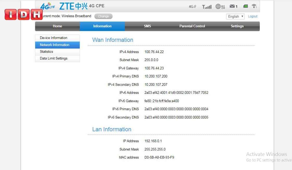 تغییر رمز وایفای مودم zte