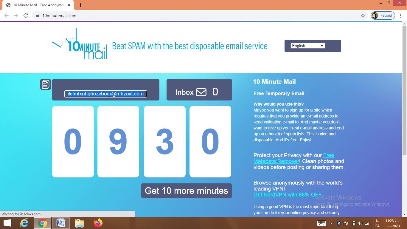 معرفی وبسایت 10 Minute Mail